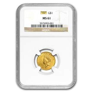 $1 Indian Head Gold Dollar Type 2 MS-61 NGC/PCGS