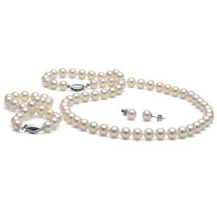 White Akoya Pearl 3-Piece Jewelry Set, 6.5-7.0mm
