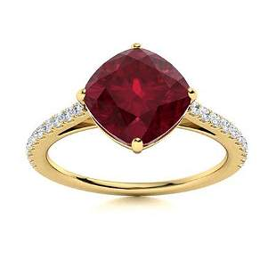 Natural 1.72 CTW Ruby & Diamond Engagement Ring 18K