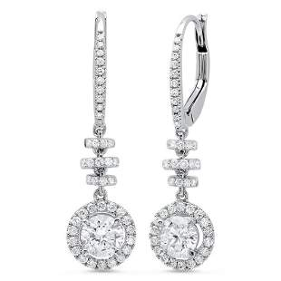 Natural 2.56 CTW Dangling U-Pave Lever Back Halo Round