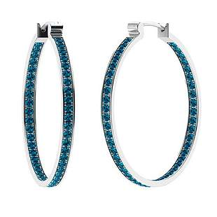 0.94 CTW London Blue Topaz Hoops Earrings 14K White