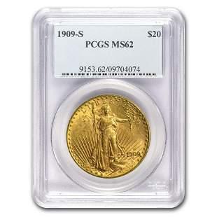 1909-S $20 Saint-Gaudens Gold Double Eagle MS-62 PCGS