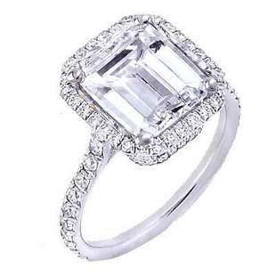 Natural 1.82 CTW U-Setting Halo Emerald Cut Diamond