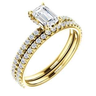 Natural 1.72 CTW Halo Emerald Cut Diamond Ring 18KT