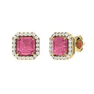 1.51 CTW Pink Tourmaline & Diamond Halo Earrings 18K