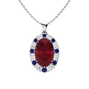 5.91 ctw Ruby, Sapphire & Diamond Necklace 18K White