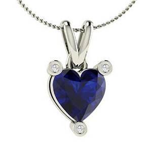0.66 ctw Sapphire & Diamond Necklace 18K White Gold