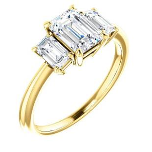 Natural 3.02 CTW 3-Stone Emerald Cut Diamond Engagement