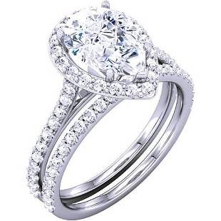 Natural 2.42 CTW Halo Pear Cut Diamond Ring 14KT White