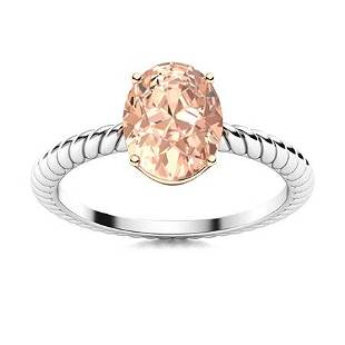 Natural 1.11 CTW Morganite Solitaire Ring 14K White