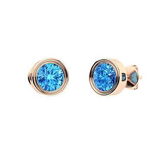 2.14 CTW Blue Topaz Studs Earrings 14K Rose Gold