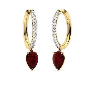 2.54 CTW Garnet & Diamond Drops Earrings 18K Yellow