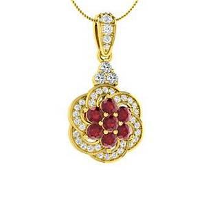0.77 ctw Ruby & Diamond Necklace 14K Yellow Gold