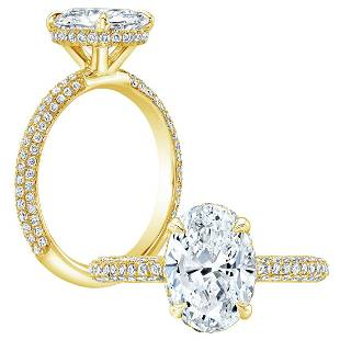Natural 4.77 CTW Oval Cut Halo Pave Diamond Engagement