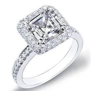 Natural 2.13 CTW Asscher Cut Halo Micro Pave Diamond
