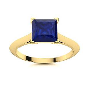 Natural 1.51 CTW Sapphire Solitaire Ring 18K Yellow