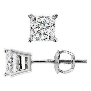 Natural 0.82 CTW Princess Cut Diamond Stud Earrings