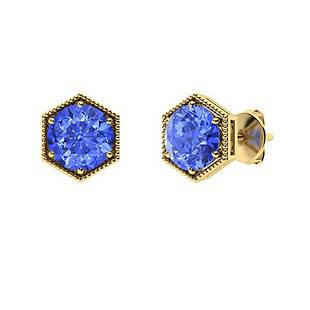 3.26 CTW Ceylon Sapphire Studs Earrings 18K Yellow Gold