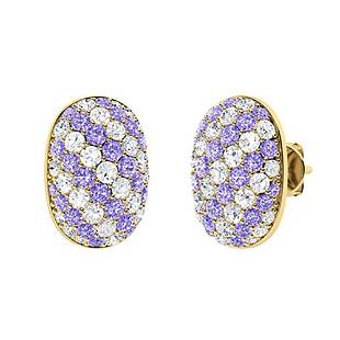 2.73 CTW Tanzanite & Diamond Halo Earrings 18K Yellow