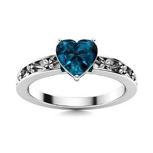 Natural 1.56 CTW Topaz Solitaire Ring 18K White Gold