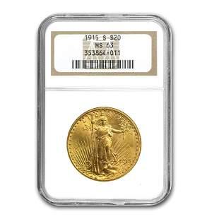 1915-S $20 Saint-Gaudens Gold Double Eagle MS-63 NGC