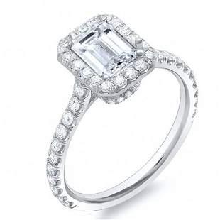 Natural 2.22 CTW Emerald Cut U-Setting Halo Diamond