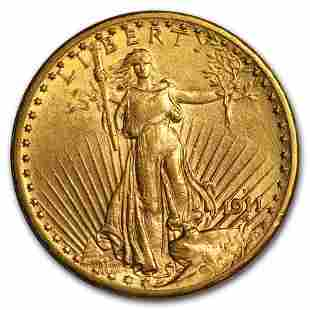1911-D $20 Saint-Gaudens Gold Double Eagle AU