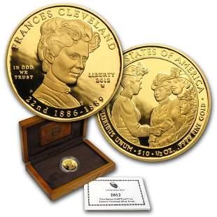 2012-W 1/2 oz Proof Gold Frances Cleveland (w/Box &