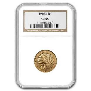 1916-S $5 Indian Gold Half Eagle AU-55 NGC