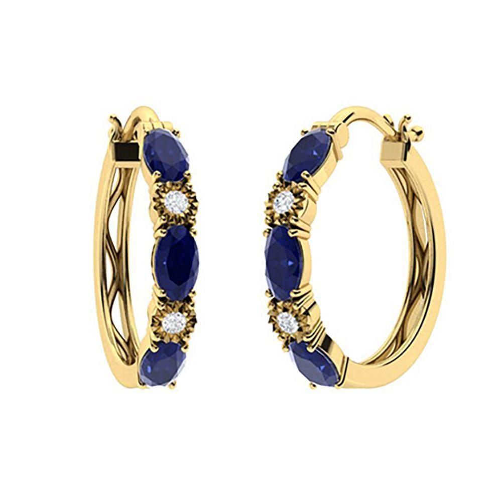 2.13 CTW Sapphire & Diamond Hoops Earrings 18K Yellow