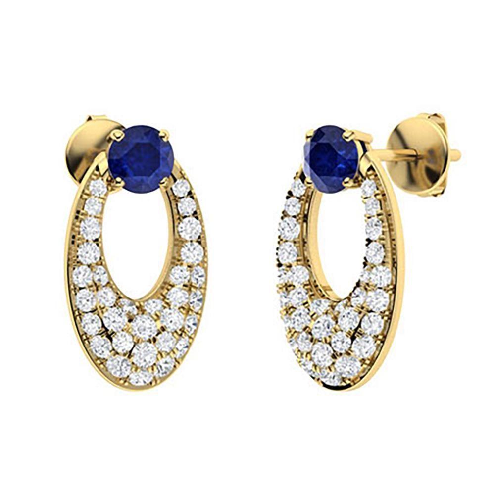 1.44 CTW Sapphire & Diamond Drops Earrings 18K Yellow