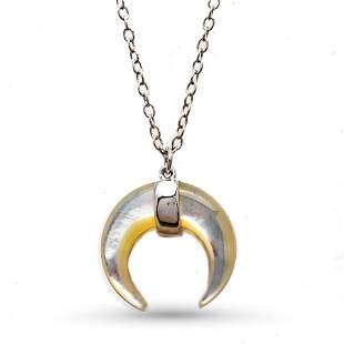 """Sterling Silver Rhodium-Plated 16"""" Mother of Pearl Moon"""