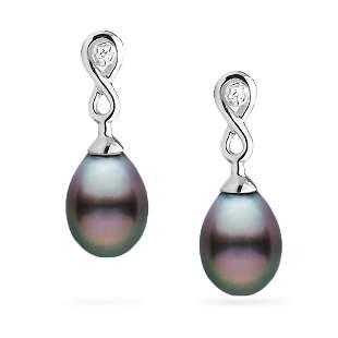 Tahitian Drop-Shape Pearl and Diamond Infinity Dangle