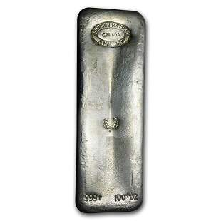 100 oz Silver Bar - Johnson Matthey & Mallory (Maple