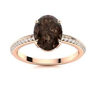 Natural 3.34 CTW Smoky Quartz & Diamond Engagement Ring