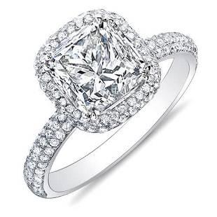 Natural 3.02 CTW Princess Cut Micro Pave Halo Diamond