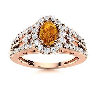 Natural 0.85 CTW Citrine & Diamond Engagement Ring 14K