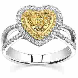 Natural 2.02 CTW Canary Yellow Heart Shape Diamond Ring