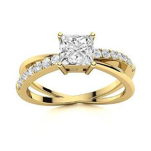 Natural 0.93 CTW Topaz & Diamond Engagement Ring 18K