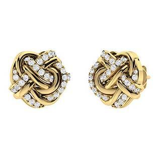 0.59 CTW Diamond Halo Earrings 14K Yellow Gold