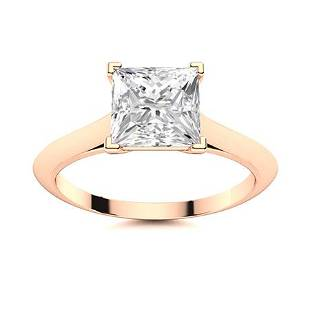 Natural 0.71 CTW Diamond Solitaire Ring 14K Rose Gold
