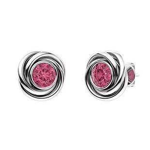 0.86 CTW Pink Tourmaline Studs Earrings 14K White Gold
