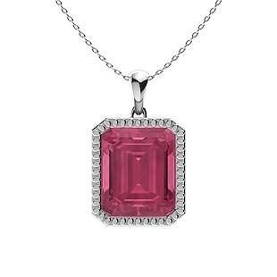 1.49 ctw Pink Tourmaline Necklace 14K White Gold