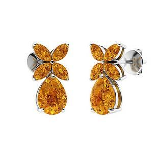 2.68 CTW Citrine Drops Earrings 14K White Gold
