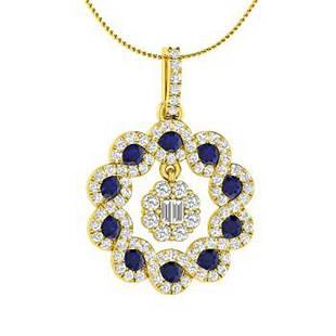 1.19 ctw Sapphire & Diamond Necklace 18K Yellow Gold