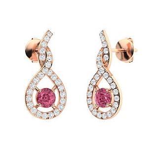 1.24 CTW Pink Sapphire & Diamond Drops Earrings 14K