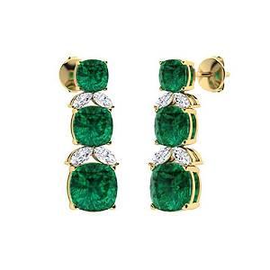 3.71 CTW Emerald & Diamond Chandelier Earrings 18K