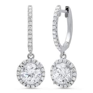 Natural 1.38 CTW Lever Back Halo Round Cut Diamond