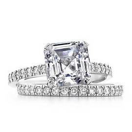 Natural 3.97 CTW Asscher Cut Diamond Engagement Bridal