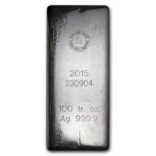 100 oz Silver Bar - Royal Canadian Mint (2015/.9999